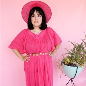 Vtg 70s Pink Cotton Bell Sleeves Maxi Dress S M L
